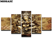 DIY Diamond Painting5 Pieces India Ganesh Poster Elephant Trunk GodMosaic diamond Embroidery 5D Square/Round Drill