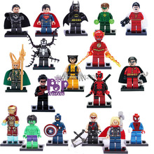 Free Shipping 18pcs/lot Pop DIY ABS Marvel Super Heroes Building Blocks The Avengers Minifigures Compatible With Lego Brick Toys
