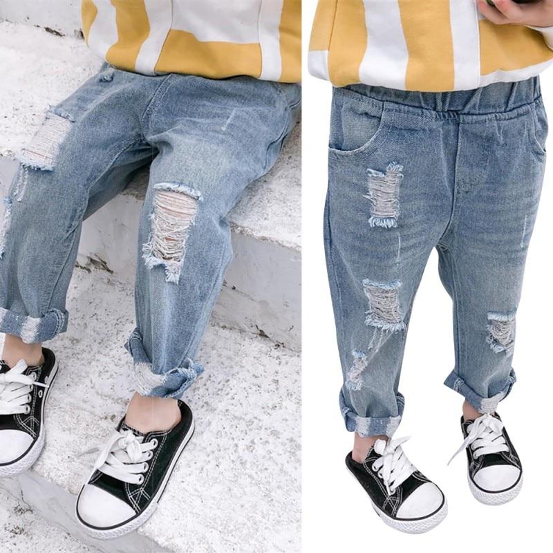 Children Boys Girls Ripped Hole Jeans Fashion Teens Light Blue Slim Denim Pants(China)