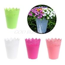 Сплошной цвет цветочный полый дизайн пластиковая ваза для цветов садовое украшение дома для свадебного украшения