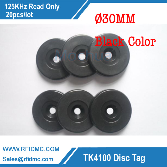 125Khz Rfid Tag EM4100 Disc Tag for Patrol system black checkpoint-20pcs/lot