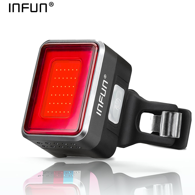 INFUN F50 Bicycle Rear Light For Bike Automatic Brake Induction Taillight MTB Cycling Charge LED Safety Running Lamp Accessories