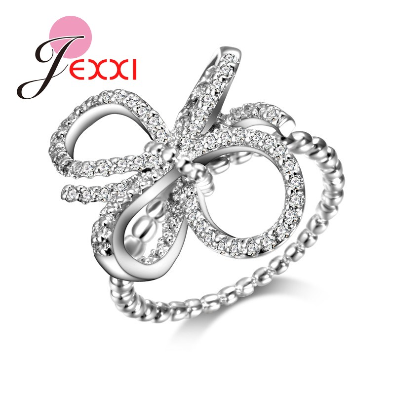 JEXXI Newly Design Chain Finger Rings Fashion Hollow Bowknot Flower Shape Women Creative Special Rings Jewelry Stainless Silver