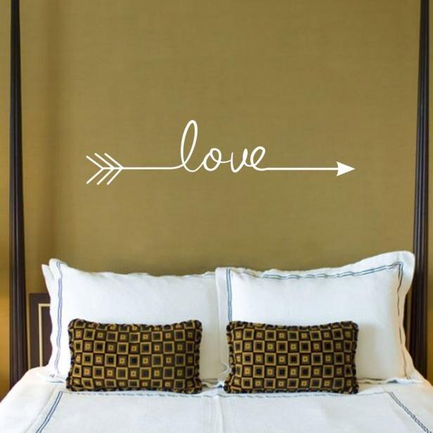 Несколько цветов Любовь Стрелка Настенная Наклейка гостиная спальня виниловые Выгравированные настенные наклейки Стикеры для украшения дома