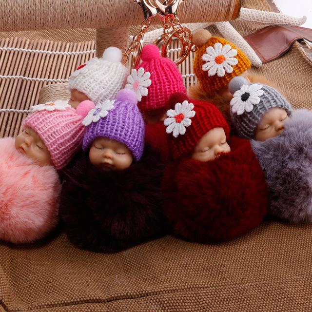 Sleeping Baby Doll Keychain Flower Rabbit Fur Pompom