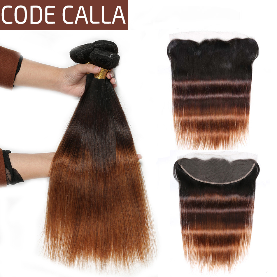 Code Calla Brown Straight Human Hair Bundles With 13*4 Lace Frontal Indian Raw Virgin 100% Human Hair Wave Extension Ombre Color