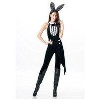 Wendywu kobiety Halloween Bunny Cosplay Sexy czarny Backless długi kombinezon z pałąkiem na głowę kostiumy w Seksowne kostiumy od Elementy błyszczące i specjalne zastosowania na