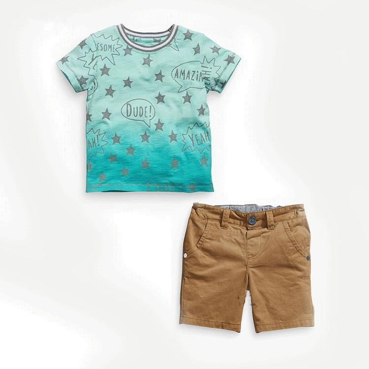 2017 Summer Children Boy Clothes Sets Kids 2pcs Short Sleeves Star Printing T-shirt+ Shorts Toddler Suits Child Clothing Set