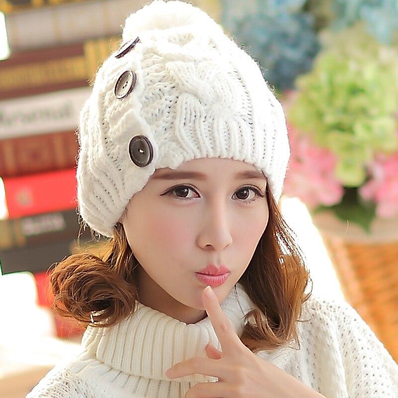 ed2c0ce0 € 15.31  Puños botón de gorro de lana del otoño y el invierno de las  mujeres gorro de media bola de sombreros de lana caliente 2018 nuevo estilo  ...