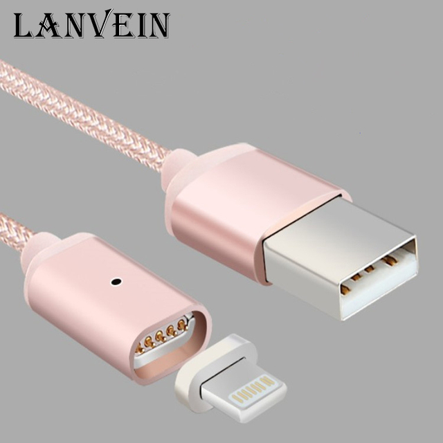 LANVEIN 1M Magnetic Sync 5V 2.4A USB Data Charger Cable nylon data lines for iPhone 5 5S 6 6S 6 Plus iPad Mini 2 3 Andrews