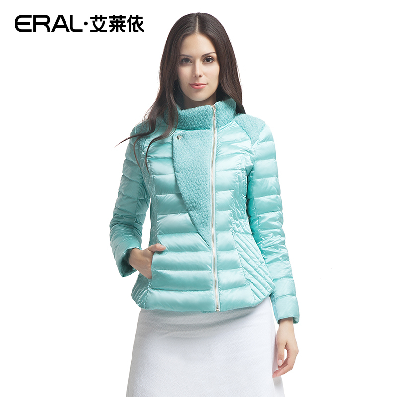ERAL Winter Women's Slim Wool Patchwork Stand Collar Causal Short   Down     Coat     Down   Jacket ERAL2030D