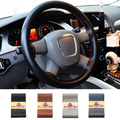 Universal 36-40cm Anti-slip Genuine Leather DIY Car Steering Wheel Cover Case With Needles and Thread Car Cover Car Styling