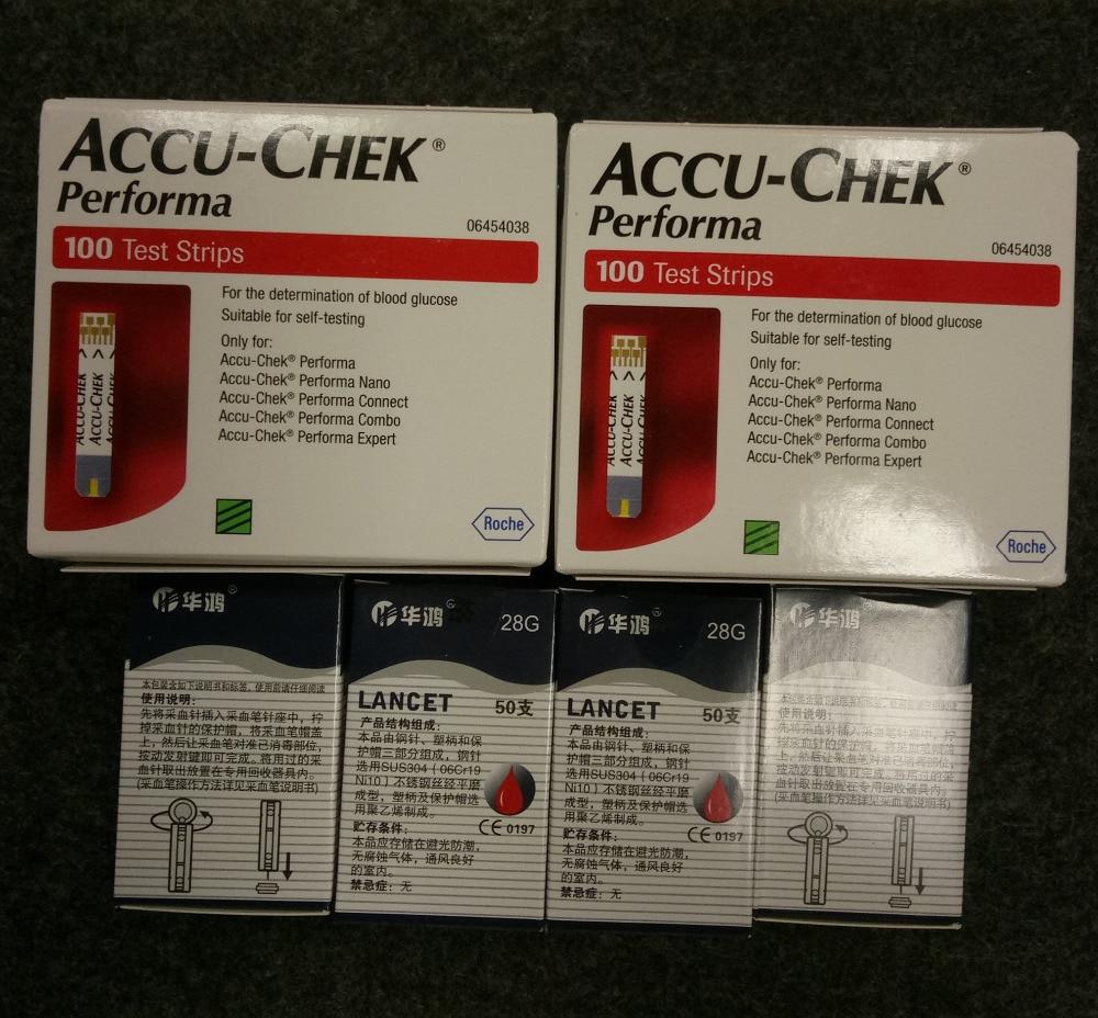 200pcs Expiry 30th 04 2020 ACCU CHEK Performa blood glucose Test Strips Sterile towel Hand sanitizer
