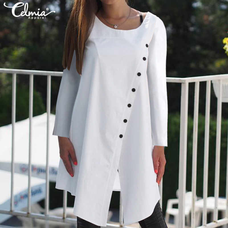 2019 Herfst Celmia Vrouwen Blouse Shirt Casual Lange Mouwen O-hals Knoppen Solid Asymmetrische Lange Top Plus Size Split Blusas Mujer