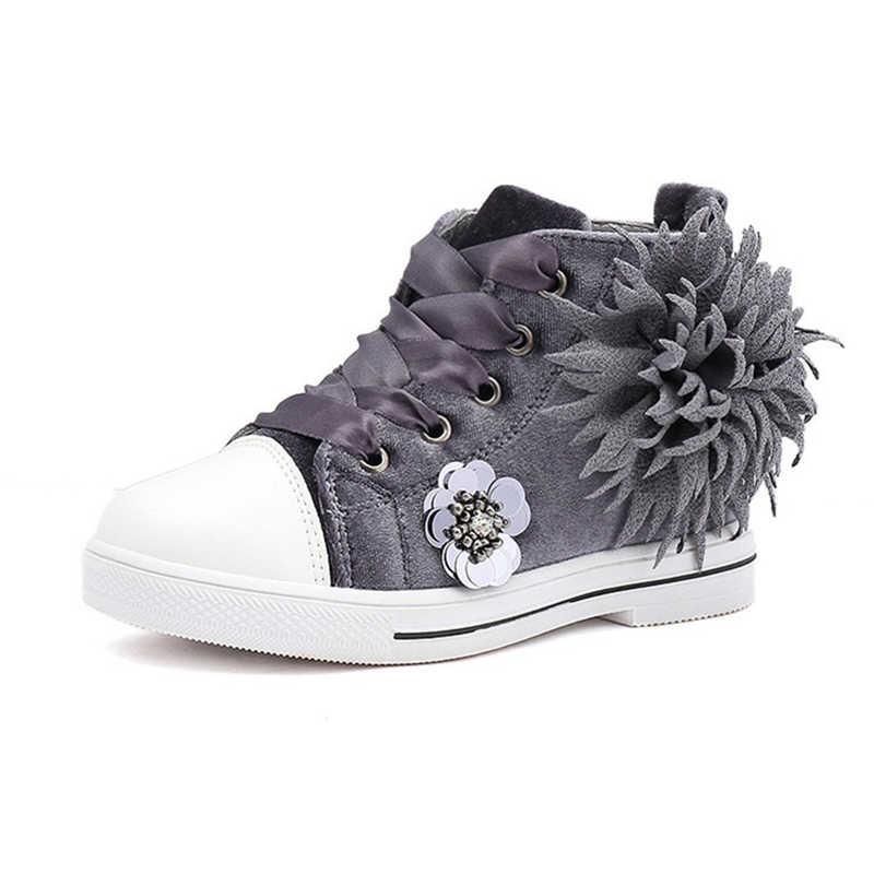COZUL MA ฤดูใบไม้ร่วงเด็กรองเท้าผ้าใบสูงรองเท้าสำหรับสาวแฟชั่นรองเท้าผ้าใบเด็กระบายอากาศได้ดอกไม้ลื่นขนาด 27-37
