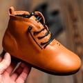 Crianças de outono/Inverno Botas PU Couro Cross-amarrado Botas Martin Botas Crianças Sapatos de Inverno Meninas Meninos Marca Curto Tênis da moda
