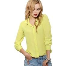 Women Blouses Button 5 Solid Color 2015 New Long-sleeve Shirt Female Chiffon blouse Women's Slim Clothing blusas feminina TPB08