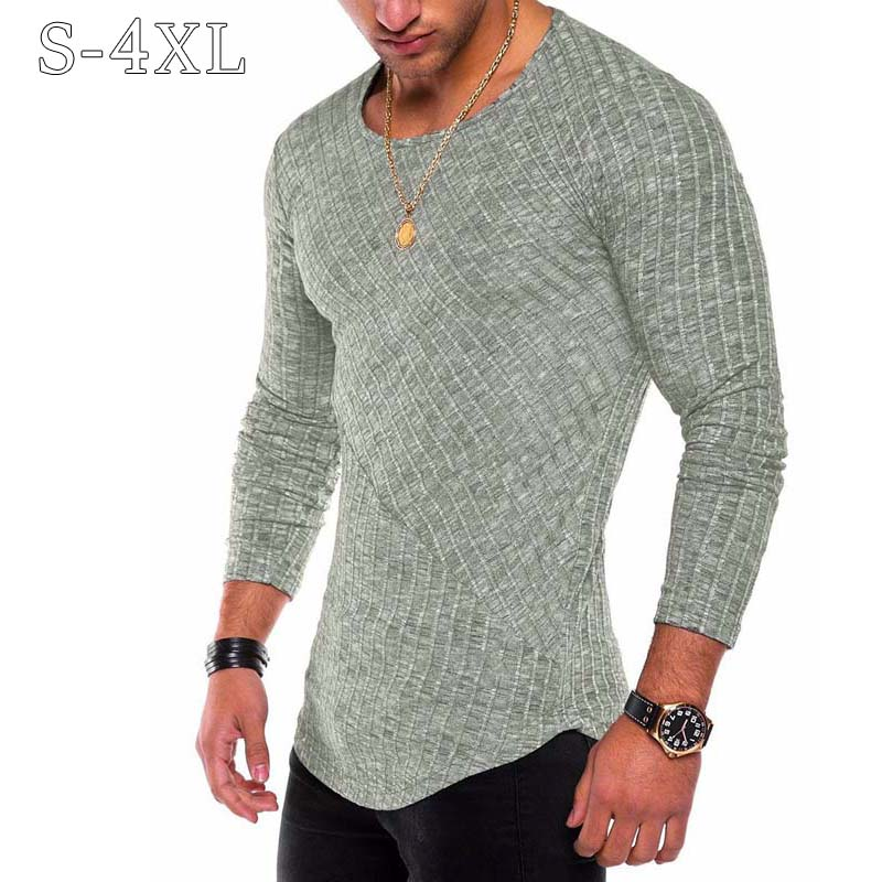 Plus Size S-4XL Slim Fit Sweater Men 2018 Spring Autumn Thin O-Neck Knitted Pullover Men Casual Solid Mens Sweaters Pull Homme(China)