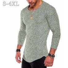 Приталенный мужской свитер размера плюс S-4XL, весна-осень, тонкий вязаный пуловер с круглым вырезом, мужские повседневные однотонные свитера