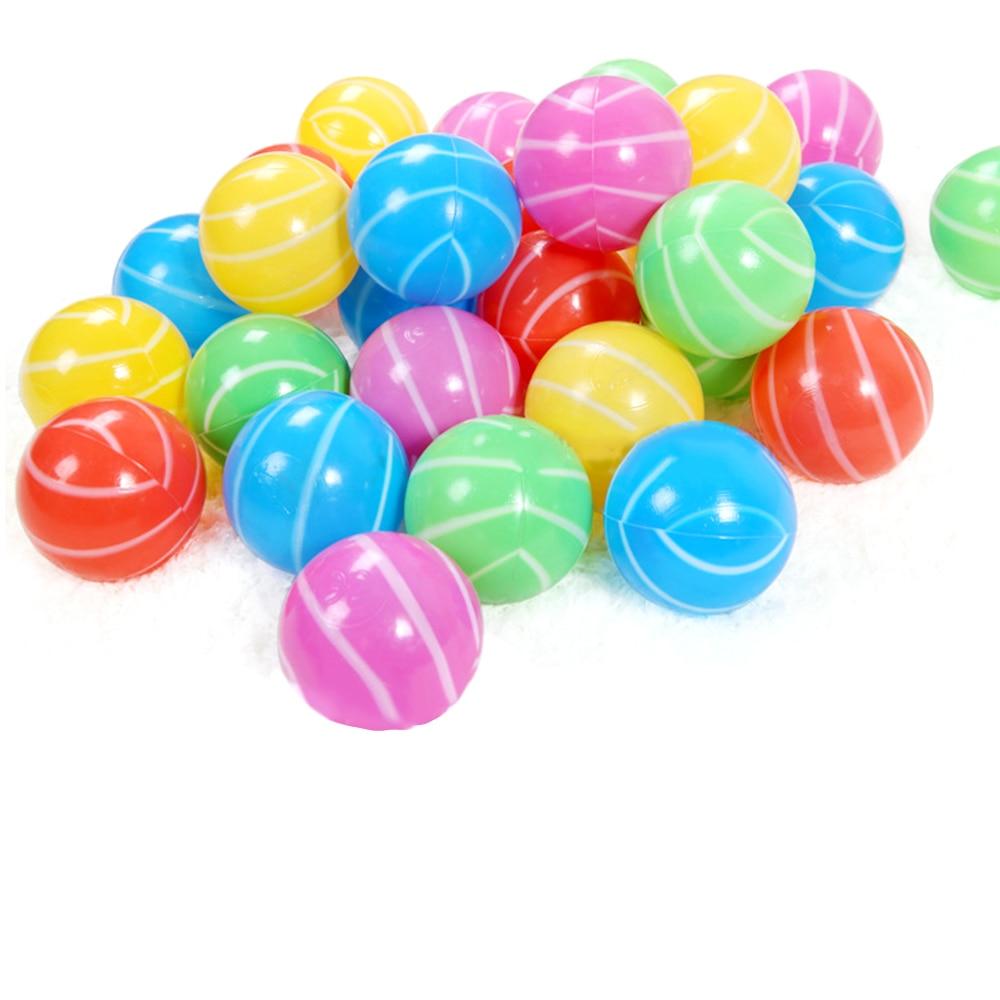 100 PCS Kids Babies Children Soft Plastic Ocean Balls Stripe Shape Pits Bounce Play Beach Tents Pool Kiddie Gam Ball Stressball