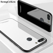 SemgCeKen luxury original hard glass mirror case for huawei p smart plus 2019 psmart silicone silicon tpu back coque phone cover