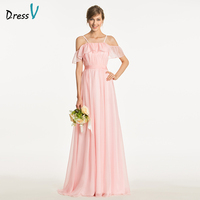 Dressv Elegant Pink A Line Bridesmaid Dress Spaghetti Straps Wedding Party Women Floor Length Ruffles Bridesmaid