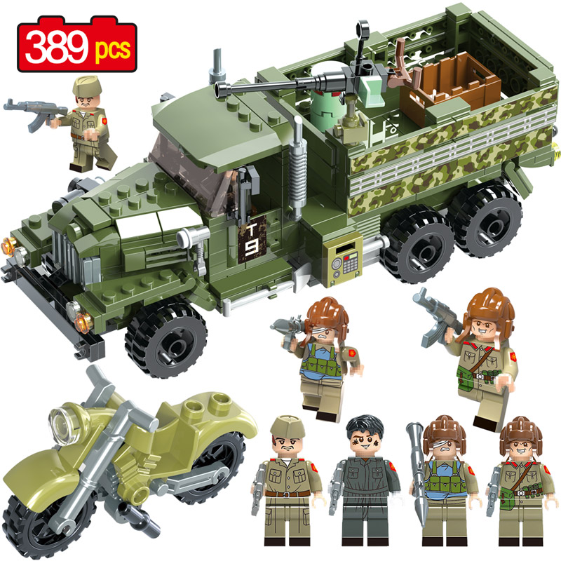 купить Military Series Ural Military Truck Building Blocks Compatible LegoINGLY Diy Vehicles Soldier Bricks Toys For Children Gift онлайн