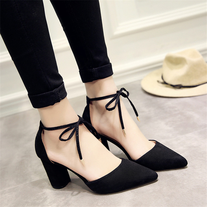 2019 Spring Wild Female Sandals Shoes Sexy High Heels Gray Buckle Hollow Sandals Thick With Pointed Shoes F065