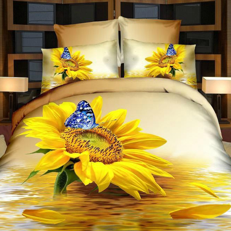 Yellow Bed Sheets Butterfly Bedding Floral Quilts Poppy