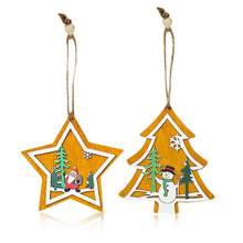 Christmas Tree Decorative Pendant Christmas Tree Innovative Five-pointed Star Pendant Hemp Rope Wooden Card Decoration Pendant(China)