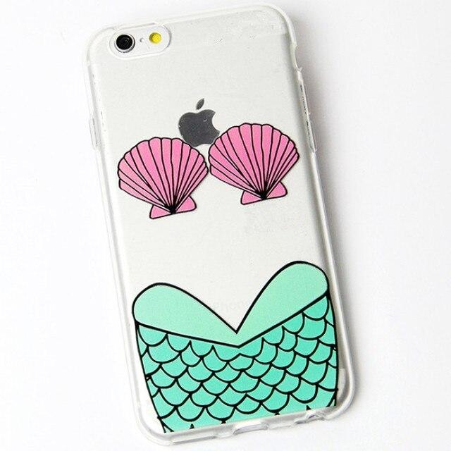 Chaiming sexy biquíni shell sereia padrão capa phone case tpu bela fundas pele de volta capa para iphone 5 5s se 6 6 s 6 s plus