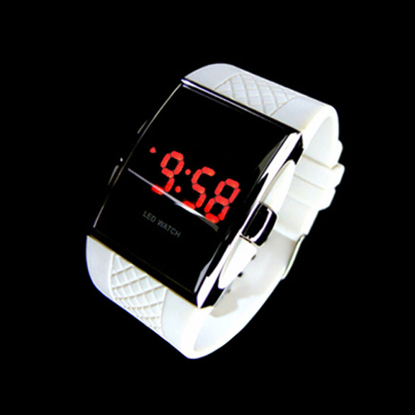 Sport Style RED LED Digital White Rubber Lady Men Unisex Wrist Watch Wristwatch LXH