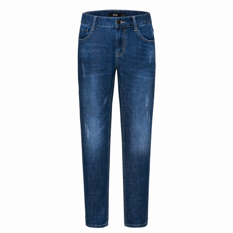 SEMIR Men Slim Fit Cotton Jeans with Destruction Men's Cotton Jeans Washed Denim with Zip Fly with Button for Spring Autumn