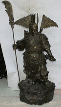 wholesale factory 50″ Chinese Bronze stand Guan Gong Yu Warrior God knife sword general Statue 6.6
