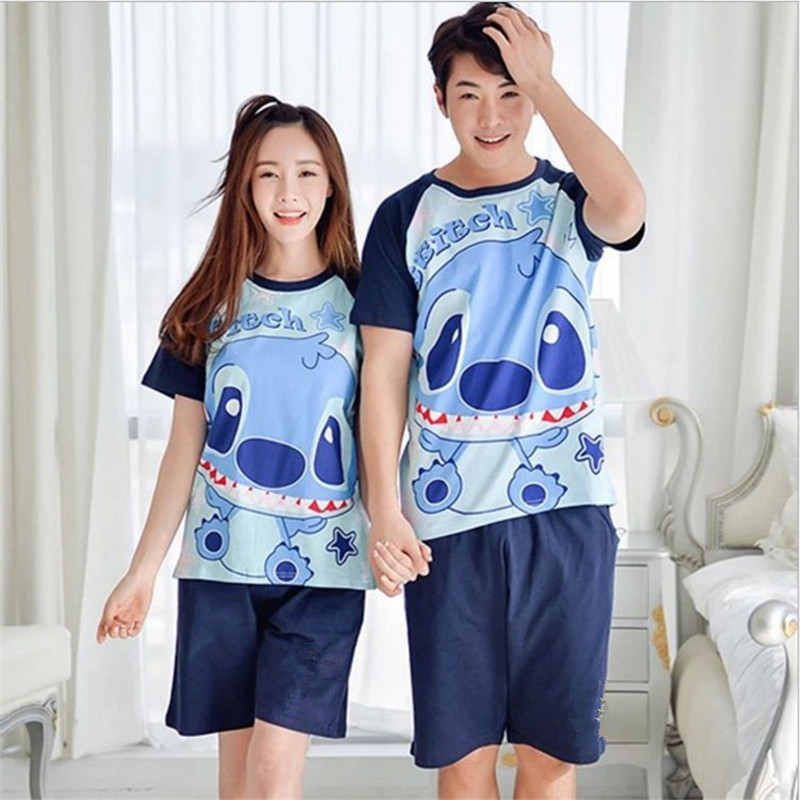 Lovers   Pajamas     Sets   Women Short-sleeved Summer Pyjama Loose Men Thin Cotton Couple Pijama   Set   Sleepwear Short SleeveTop+ Shorts