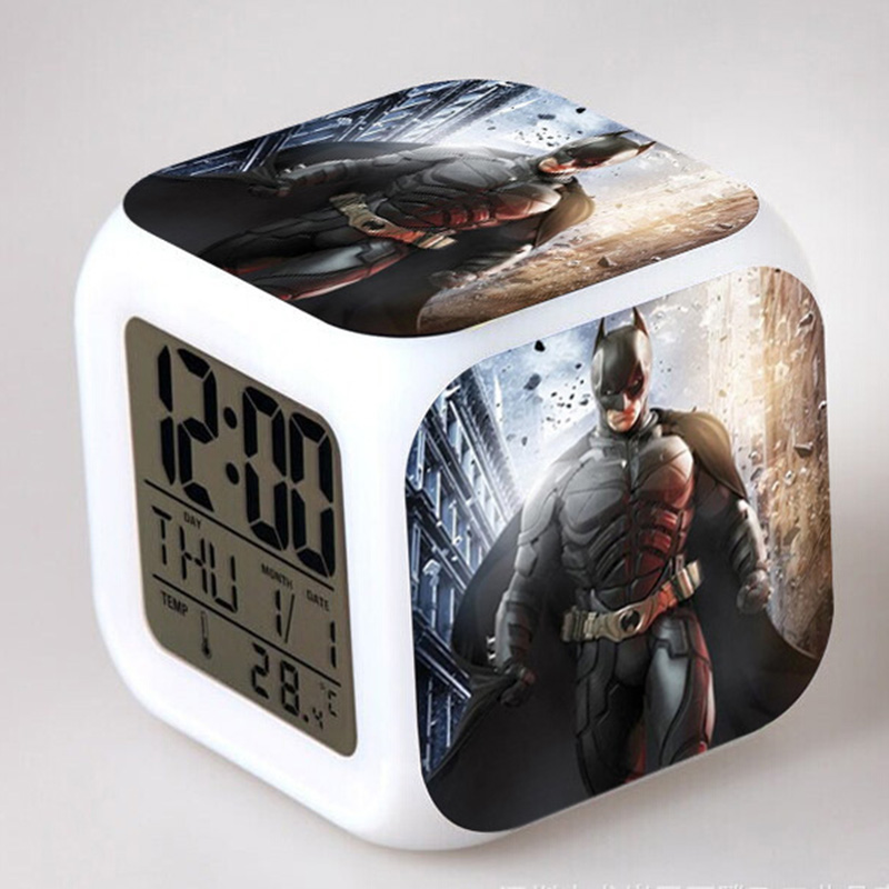The Dark Knight Action Figures LED Alarm Clock Colorful Flash Night Light Batman Anime Figurine Toys for Children
