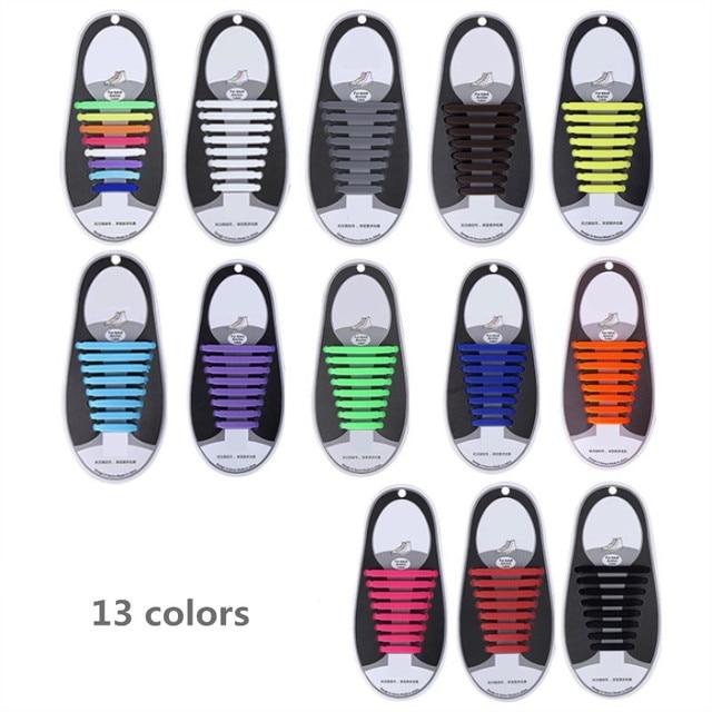 16 cái/lốc Dây Giày Silicone Dây Giày Đàn Hồi Đặc Biệt Không Có Tie Dây Giày cho Nam Giới Phụ Nữ Viền Cao Su Zapatillas 13 Màu Sắc