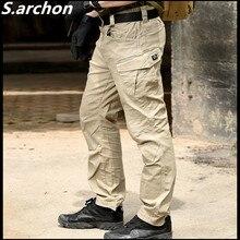 S. archon GOLPE Militar de Combate Tático Calças Homens de Grande Porte Multi bolso Do Exército de Carga Calças de Algodão Casuais Calças de Guarda de Segurança