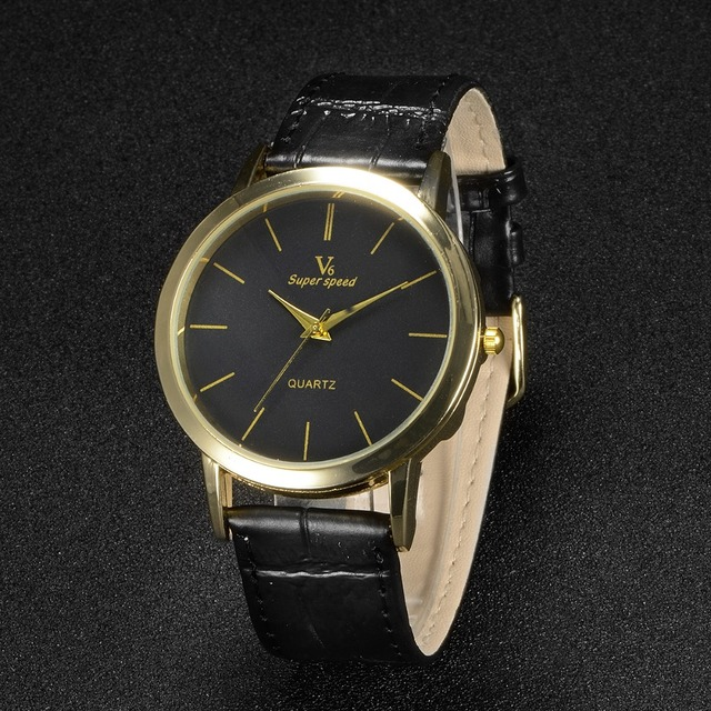 490df30057d Super Speed V6 Top Luxury Band Successful Business Male Leather Watch  Classic Black White Dial Gold Case man Clock relogio reloj