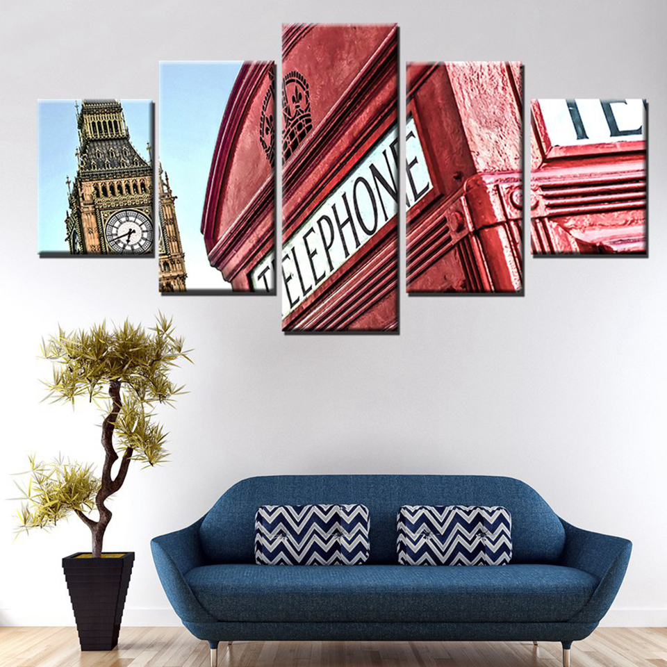 Canvas Living Room Pictures Home Decor 5 Panel Foreign Architecture ...