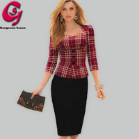 Women Pencil Work Dress UK Patchwork Plaid Houndstooth Bodycon Midi Office Dress Elegant Ladies Casual Party
