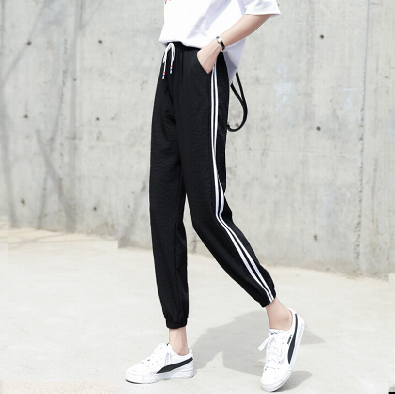 2019 women hip-hop Sweatpants harajuku Cropped pants summer new hipster harem pants Striped Side Sweat Pants Female size S-3XL