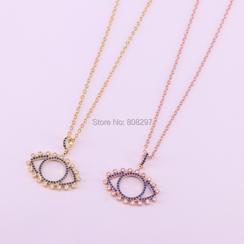 10Pcs high quality gold rose gold silver black metal micro pave crystal blue cz eye pendant fashion chain necklace-in Chain Necklaces from Jewelry & Accessories    2