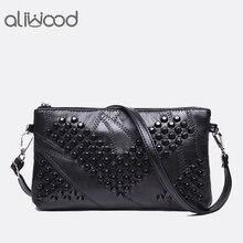 2017 Diamond Genuine Leather Women Bag Rivet Crossbody Bag Women s Clutch Patchwork Messenger Bag Females