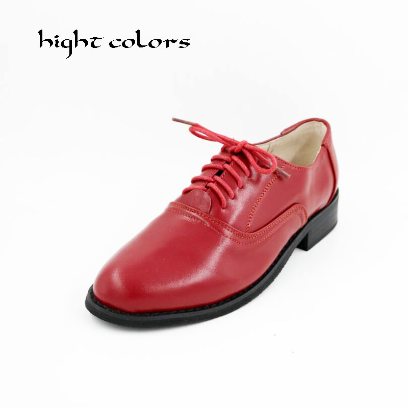 New Genuine Leather Oxford Shoes For Women British Style Pointed Toe Women Brogues Oxfords Causal Flat Shoes Woman Big Size 10.5 mens genuine leather oxfords shoes for men breathable stitching dress shoe british style casual flats oxford pointed toe zapatos