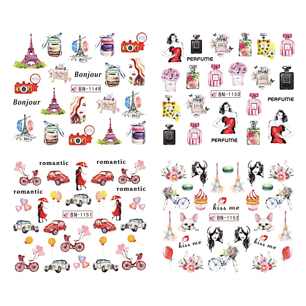 Image 4 - 12pcs Nail Art Stickers Romantic City Flowers Wraps Perfume Lovers Balloon Rose Beauty Girls Decals Nails Decor BEBN1141 1152-in Stickers & Decals from Beauty & Health