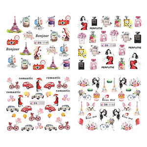 Image 4 - 12pcs Nail Art Stickers Romantic City Flowers Wraps Perfume Lovers Balloon Rose Beauty Girls Decals Nails Decor BEBN1141 1152
