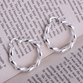 rope shiny silver plated earrings 925 jewelry for women silver earrings LQ-E156 IOGIYBAH