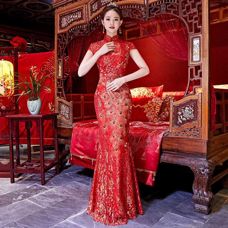 Rode Trouwjurk Kopen.Kopen Goedkoop Chinese Traditionele Vrouwelijke Slanke Qipao