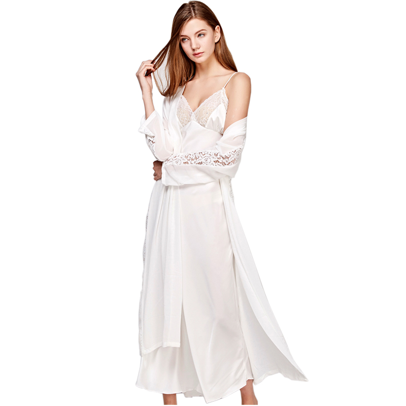 Sexy Sling Dress Sleeping Robe Two-Piece Faux Silk Sleepwear Women Elegant Lady Lace Long-Sleeve Nightgowns Bathrobes T0008